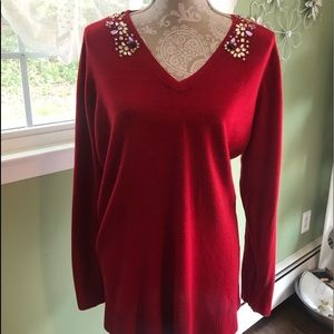 Jaclyn Smith Red embellished sweater 2X